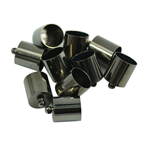 10pcs 10mm Messing Endkappe KUMIHIMO Rattail Schnur DIY Schmuck Machen Pistole Schwarz (Rattail Schnur)