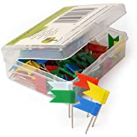 OfficeTree ® Banderas marcadoras - 100 unidades en 5 colores - marcación perfecta para una visión general de mapas del mundo y mapas de tablero - Accesorios de marcación para mapas murales para chinchetas - en una práctica caja de almacenamiento