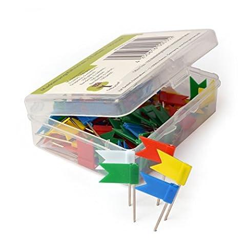 OfficeTree ® Markierungsfähnchen - 100 Stück 5 Farben - perfekte Kennzeichnung und Übersicht auf Landkarten Weltkarten Pinnwand - Landkarten-Nadel Markierungszubehör - in praktischer