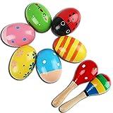 : 6 Stück Ei Maracas und 2 Stück Holz-Maraca, Farbig Holz Rassel Sand Hammer Ei Shakers Music Percussion Spielzeug für Kinder Kleinkind Babies