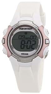 Timex - T5K6474E - Marathon - Montre de Sport Femme - Quartz Digital - Cadran Gris - Bracelet Résine Blanc
