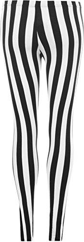 WearAll - Damen schwarz Streifen Leggings - Schwarz - 52 bis 54