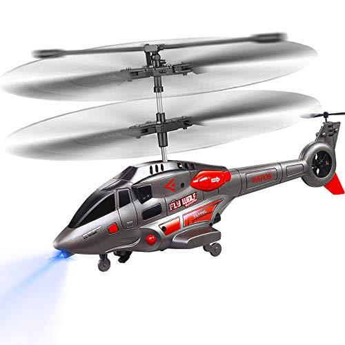 VATOS RC Hubschrauber, Hubschrauber Ferngesteuert mit Kreisel und LED-Licht 3.5HZ Kanal-Legierung Mini Military Series Rc Helikopter für Kinder RC Hubschrauber Spielzeug Geschenk für Jungen Mädchen