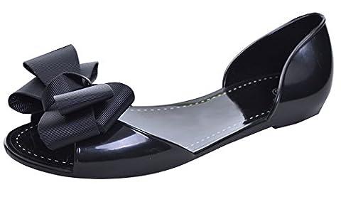 Minetom Damen Mädchen Sommer Strand Ebeneschuhe Schuhe Süßen Stil Spitz Zehe Schuhe Mit Bowknot Offener Zeh Geleeschuhe Schwarz EU (Schwarze Riemchen-plattform)