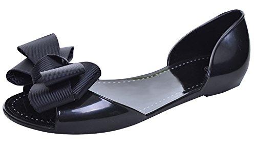 Minetom Damen Mädchen Sommer Strand Ebeneschuhe Schuhe Süßen Stil Spitz Zehe Schuhe Mit Bowknot Offener Zeh Geleeschuhe Schwarz EU 37 (Perlen Sandal Gladiator)