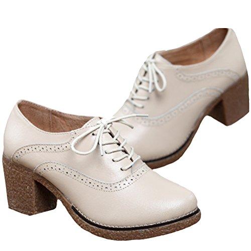 Vogstyle Damen Rund Schuhspitze Blockabsatz Lederschuhe Art 1 Weiß