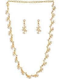 Touchstone Zigzag White Crystals Elegant Alloy Metal Gold Tone Necklace Set For Women