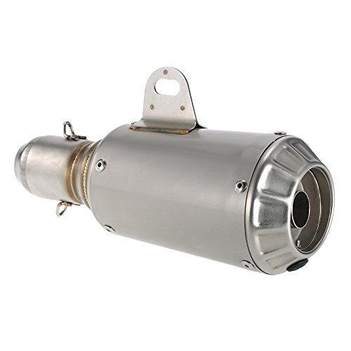 KKmoon - Tubo de escape de 51mm. de acero inoxidable con silenciador...