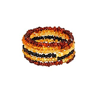 Natural Baltic Amber Bracelet for Adults - Hand Made from Polished/Certified Baltic Amber Beads(Multi)