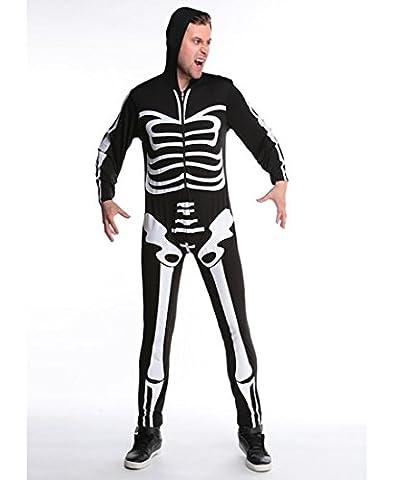 HZHF Couple Adulte Sexy Squelette imprimé Combinaison Costume Halloween Cosplay