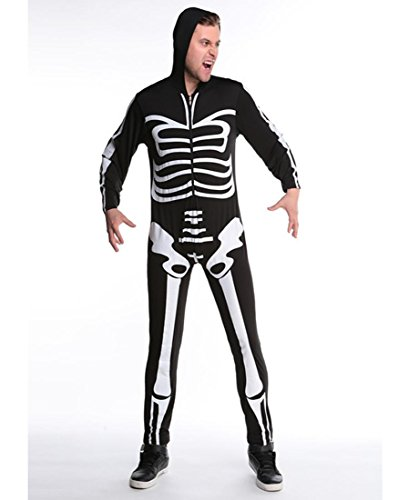 DuuoZy Paar-Erwachsene Sexy Skeleton Druck Overall Halloween Cosplay Zombie Kostüm für Weiblich und männlich, Man, ()