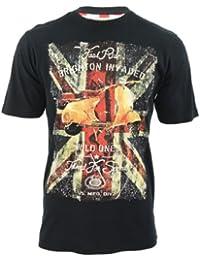 Brave Soul Mens T-Shirt 'Cooper' Short Sleeved Union Jack Scooter Print