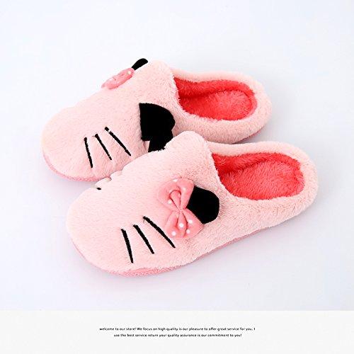 Fankou autunno e inverno pantofole di cotone giovane cat home indoor uomini sotto la fine di antiscivolo femmina calda Wassermelone rot