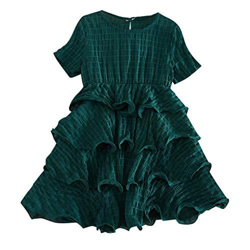 drey 1950er Vintage Hepburn Kleid Prinzessin Ballett Tutu Rock Party,Kleinkind Kind Baby Mädchen Kurzarm Floral Cartoon gedruckt Prinzessin Kleid Kleidung ()