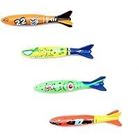 Yeahibaby 4 unids natación buceo juguete torpedo para uso de la piscina deslizamiento juguete submarino bañera baño diversión juguete (color mezclado)