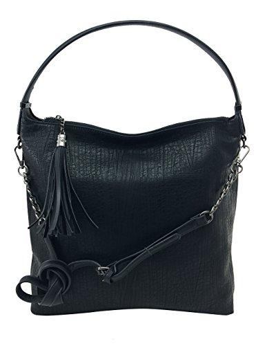 DW-Accessoires - Damen Shopper Tasche Beuteltasche Hobo-Bag Schultertasche it-bag Umhängetasche (anthrazit / silber) schwarz