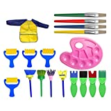 #9: Toyvian 18pcs Paint Brush Set Kids Painting Sponge Brushes Drawing Brush with Palette and Apron Painting Rollers