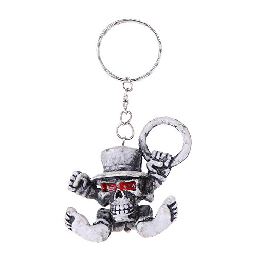 or Skull in Hat Rubber Key Chain Bag Pendant Fashion Charm Car Key Ring ()