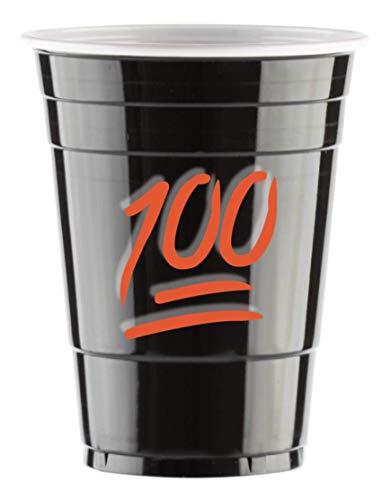 Red Celebration 50 Gobelets Américain Noires 100 Emoji Logo Black Cups Design - Party Beer Pong Original 500 ML - Grand jetables Verres en Plastique 16oz - Double imprimés & Anniversaire Tasses