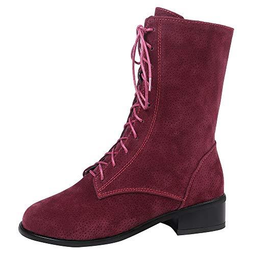 MYMYG Damen Stiefeletten Damenmode Keep Warm Flache Runde Zehenschuhe Rutschfeste -Stiefel mit Schnürung Winterstiefel Warme Plüsch Gefüttert Chelsea Boots