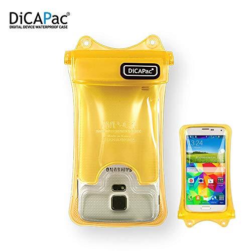 DiCAPac wasserdichte Handytasche passend für Archos 40 Neon / 50 Cobalt / 50 Helium+ Schutz-Handyhülle/Handy-Case mit Tragegurt & Airbag - Gelb - wasserdicht IPX8 10m