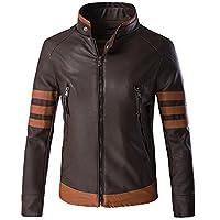 Glestore Mens Wolverine Leather Jacket Logans Motorcycle Jacket S-XXL (L, Brown)