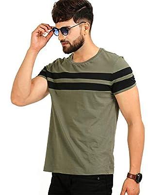 AELOMART Men's Cotton T Shirt-(Aelotshirt1020ol-P_Olive)
