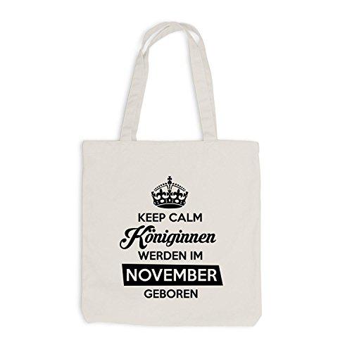 Sacchetto Di Juta - Mantenere La Calma Regine Nato Novembre - Compleanno Compleanno Beige