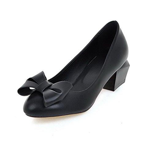 AllhqFashion Femme Matière Souple Rond à Talon Correct Tire Chaussures Légeres Noir
