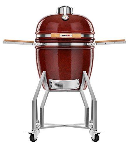 Kamado Chef 1900 Prestige Red Smooth ceramic barbecue grill and smoker for searing, roasting, smoking � The Extraordinary Cooking Experience