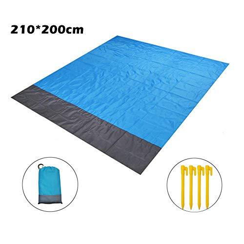 ZFYQ Strandmatten, Anti-Sand 210 * 200cm wasserdichte Picknickdecke mit 4 festen Pfählen für Strand-, Picknick-, Camping- und andere Outdoor-Aktivitäten