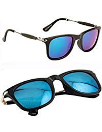 Elligator Wayfarer Unisex Combo Of Sunglasses (Sg_2448-Goldgreen-2448Blue|Green Blue)
