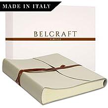 Belcraft Capri Album Fotografico in Pelle, Realizzato a Mano da Artigiani Toscani, Regalo Anniversario Matrimonio, 50 Anni Matrimonio Regalo, A4 (23x30 cm) Avorio