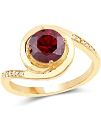 Johareez Gold Plated Contemporary Red Solitaire Cubic Zirconia Ring For Women