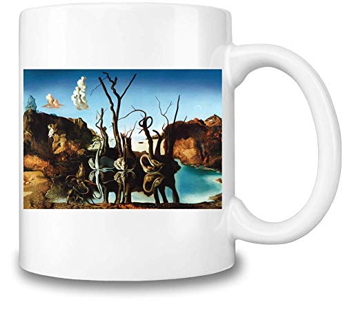 Top Paintings of All Time Salvador Dalí - Swans Reflecting Elephants Painting Coffee Mug Ceramic Coffee Tea Beverage Kitchen Mugs by - Swans Reflecting Elephants Von Dali