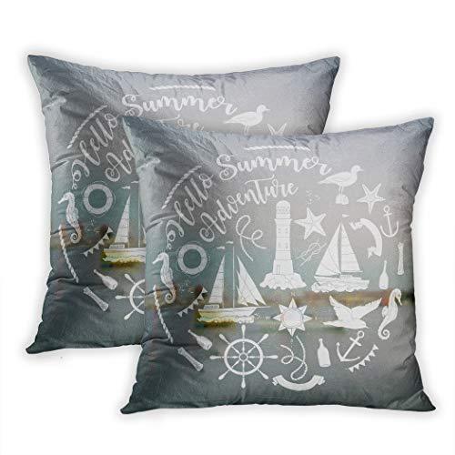 Nekkzi Cushion Covers Set of Two Print Nautical Sea Composition Ships and Wheel for Summer Holidays Sofa Home Decorative Throw Pillow Cover 18x18 Inch Pillowcase Hidden Zipper Click Wheel Ribbon