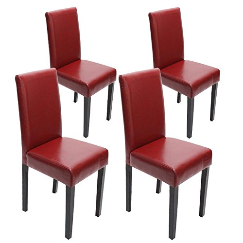 Mendler 4X Esszimmerstuhl Stuhl Lehnstuhl Littau ~ Leder, rot dunkle Beine