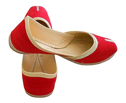 kalra Creations Femme en Cuir traditionnel indien Ballet Flats Rouge