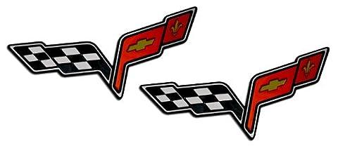 2x (pair/set) MEDIUM CROSSED FLAGS WINGS Fender Real Aluminum Auto Emblems Badges Nameplates for Chevrolet Corvette C6 05 06 07 08 09 10 11 12 13 2005 2006 2007 2008 2009 2010 2011 2012 2013 (any year model - Universal Fitment)