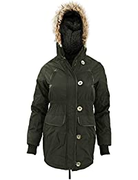 Universal Textiles Childrens Girls Hooded Parka Jacket With Faux Fur Trim