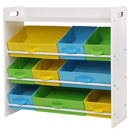 Songmics scaffale per giocattoli con 9 contenitori di tessuto non tessuto rimovibili, mobile portaoggetti per bambini, cameretta, stanza dei giochi, struttura di legno con mensola, bianco gkr31wt