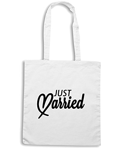T-Shirtshock - Borsa Shopping MAT0045 Just Married Heart Maglietta Bianco