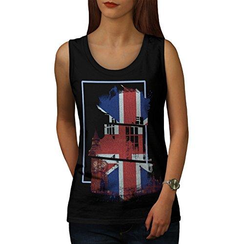 Groß Ben Flagge Land Vereinigtes Königreich Vereinigtes Königreich Flagge Damen S-2XL Muskelshirt   Wellcoda Schwarz