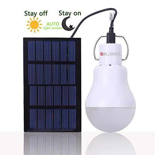 KK.BOL Solar-Leuchtmittel, tragbar, wiederaufladbar, Nachtlicht mit Lichtsteuerungsfunktion KGS-1200