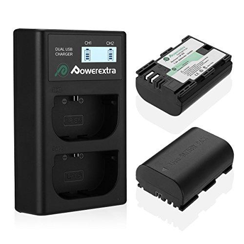 Powerextra 2 Pack Reemplazo Canon LP-E6 Batería y cargador de batería dual con pantalla LCD USB para Canon EOS 80D, 6D, 7D, 70D, 60D, 5D Mark III, 5D Mark II, BG-E14, BG-E11, BG- BG-E7, LC-E6, BG-E6
