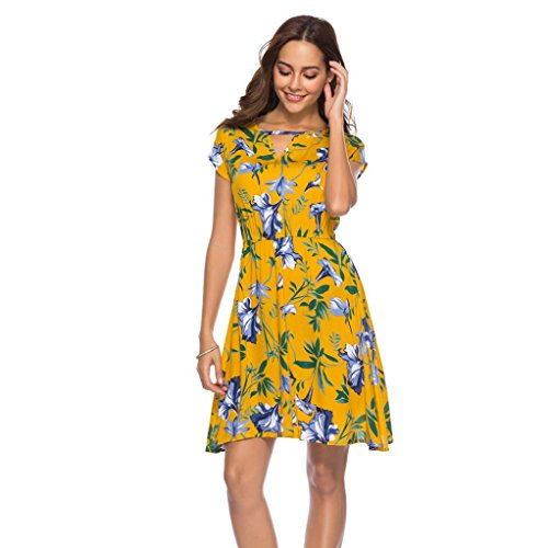 KaloryWee Dresses Womens Floral Printed Hollow Cut Out V Neck Holiday Dress Ladies Summer Short Sleeve Beach Party Mini Dress