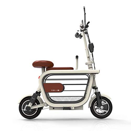 JUN Folding Elektro-Fahrrad, Stahl Material 8A / 10A / 15A große Kapazitäts-Lithium-Batterie-Roller mit Kinderstuhl männliche und weibliche Bike,Weiß,8A