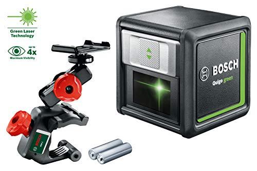 Bosch Home and Garden 0603663C00 - Laser a linee incrociate Bosch Quigo Green, 2 batterie, campo di lavoro: 12 m, in scatola di cartone, 1,5 V