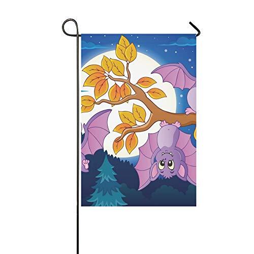 JSXMNA Startseite Dekorative Outdoor Doppelseitige Fledermäuse Thema Bild 5 Eps 10 Gartenfahne Haus Yard Flag Garten Yard Dekorationen saisonale Willkommen Outdoor Flagge 12 X 18 Zoll Geschenk