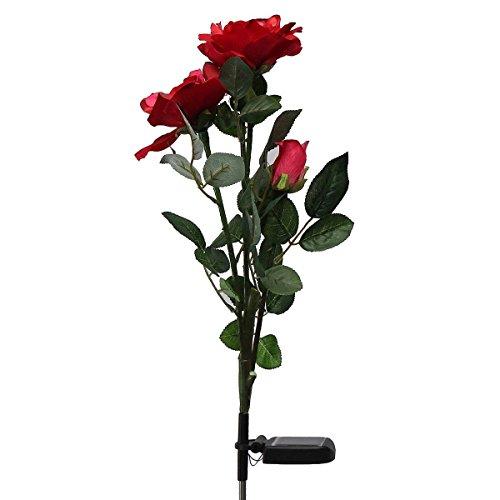 TOOGOO(R) Solarbetriebene rote 3 LED Rose Blumenlichter Garten dekorative Dekor im Freien Landschaft Rose Licht Pfad Lampe
